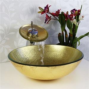 Conjunto de lavabo Sobre Encimera con Grifo Cascada dorado Homelava