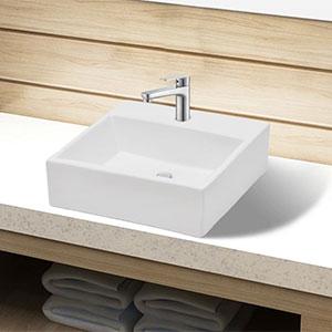 Lavabo Cuadrado Cerámica Blanco 38x30x11.5 cm