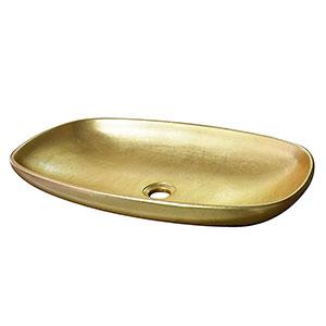 Lavabo Oro Casablanca, Resina Dorado, 60X36X11 cm Taberner