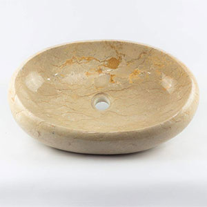 Lavabo Ovalado de mármol Crema Pulido 2 Caras de 50x40 (único) Rococo