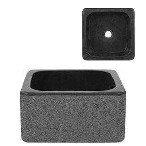 Lavabo Piedra de Río Color Negro sobre Encimera 30x30x15 cm