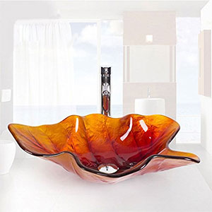 Lavabo de Vidrio Templado Sobre Encimera hoja naranja