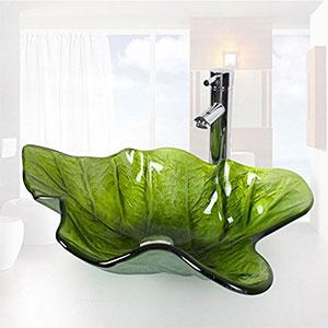 Lavabo de Vidrio Templado Sobre Encimera, hoja verde