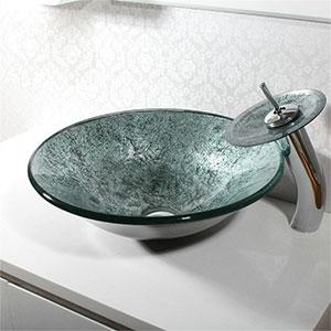 Lavabo de Vidrio Templado gris con Grifo Cascada