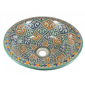 Lavabo de cerámica marroquí Tanger multicolor, pintado a mano 40 x 16 cm