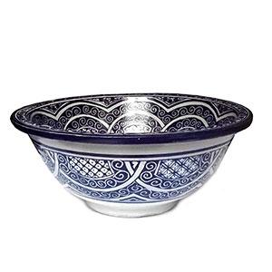 Lavabo de cerámica marroquí pintado a mano redondo Azul 35 cm.