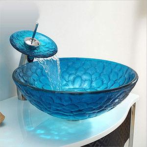 Lavabo de cristal Sobre Encimera con Grifo Cascada, Azul