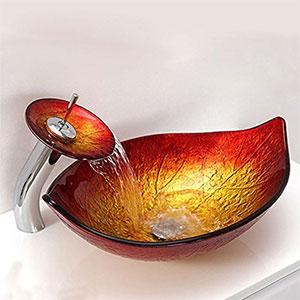 Lavabo de cristal Sobre Encimera con Grifo Cascada, Naranja + Dorado