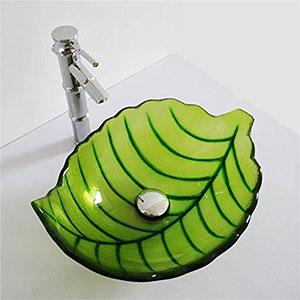 Lavabo de cristal Sobre Encimera hoja Verde