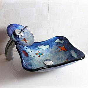 Lavabo de cristal templado para niños con grifo cascada