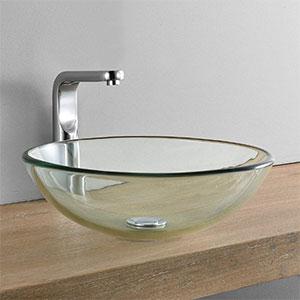 Lavabo de cristal transparente redondo sobre encimera 42x42 cm