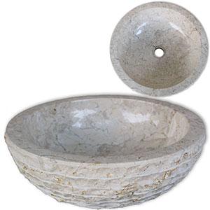 Lavabo de mármol Crema 40 cm vidaXL