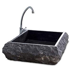 Lavabo de mármol de piedra maciza natural, gris texturizado rústico 50x40x13 cm Cemlux
