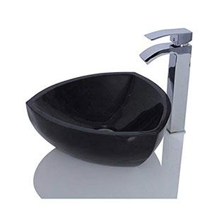 Lavabo de mármol negro con piedra de marquina triangular