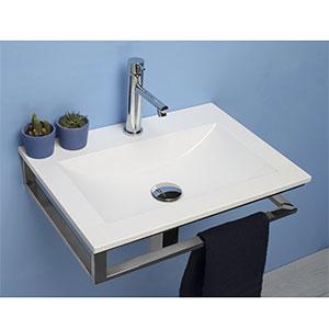 Lavabo de resina Blanco Brillante 50 cm con Soporte en Acero Inoxidable