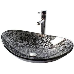 Lavabos Sobre Encimera de cristal Gris-Negro Homelava